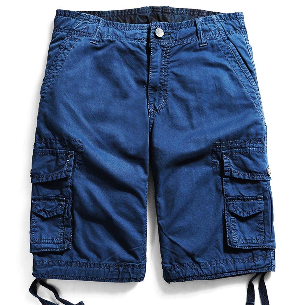 Men's Cotton Cargo Shorts Elastic Waist Loose Fit Pants Boys Summer Outdoor (32,Dark Blue)