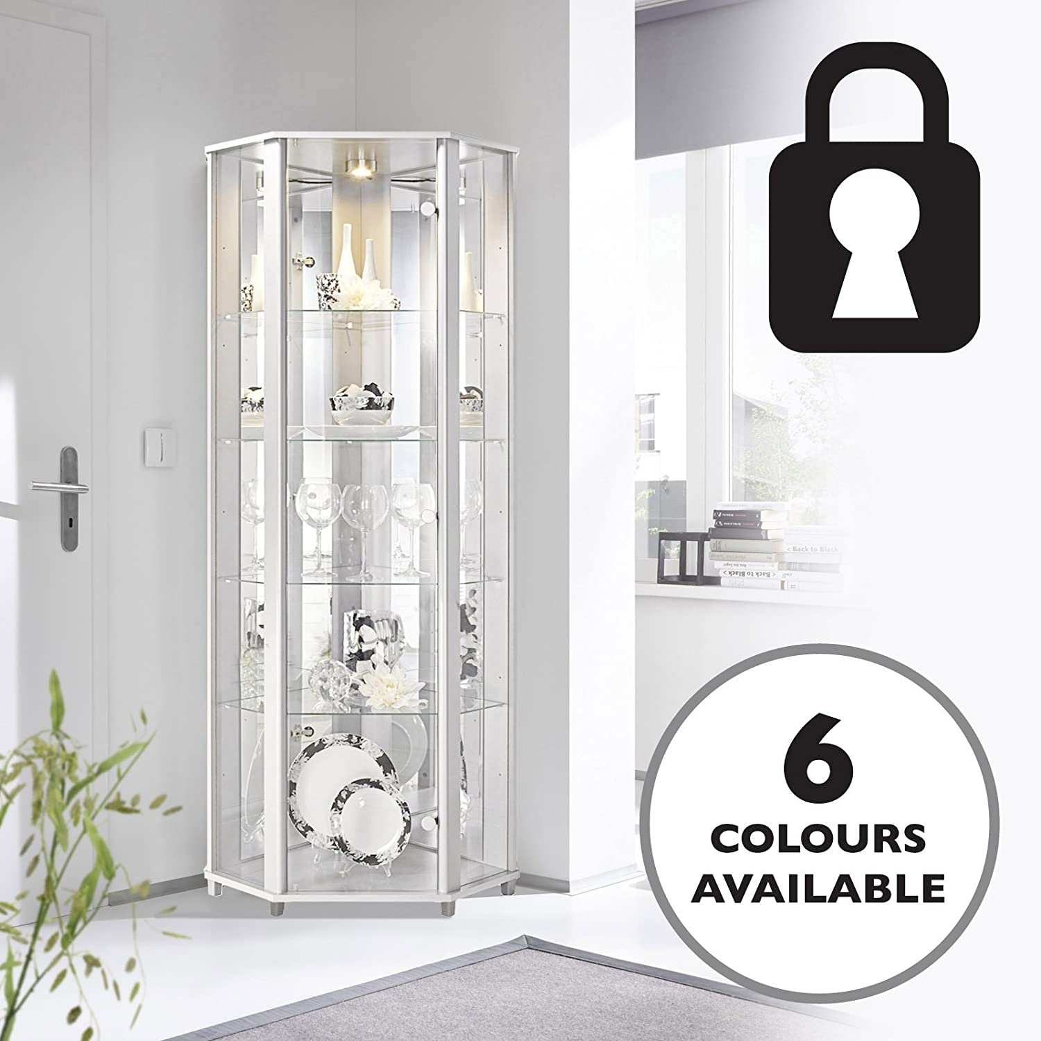 Lockable White Corner Glass Display Cabinet with Mirror Back, 4 Moveable Glass Shelves & Spotlight Displaycabinetsuk