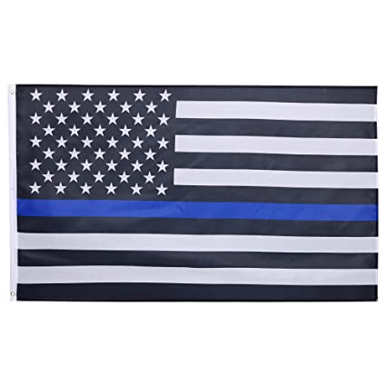 COOCHEER Thin Blue Line Flag 3 X 5 Ft American Nylon Polyester Honoring Law Enforcement