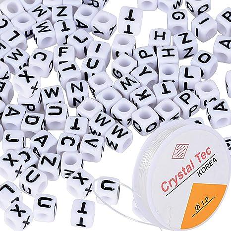 0fb591776ea7 1000pcs Abalorios Alfabeto Letras Cuentas Granos Perlas Acrílico Plastico  Cuadrados A-Z + 5m Cordón Elástico para