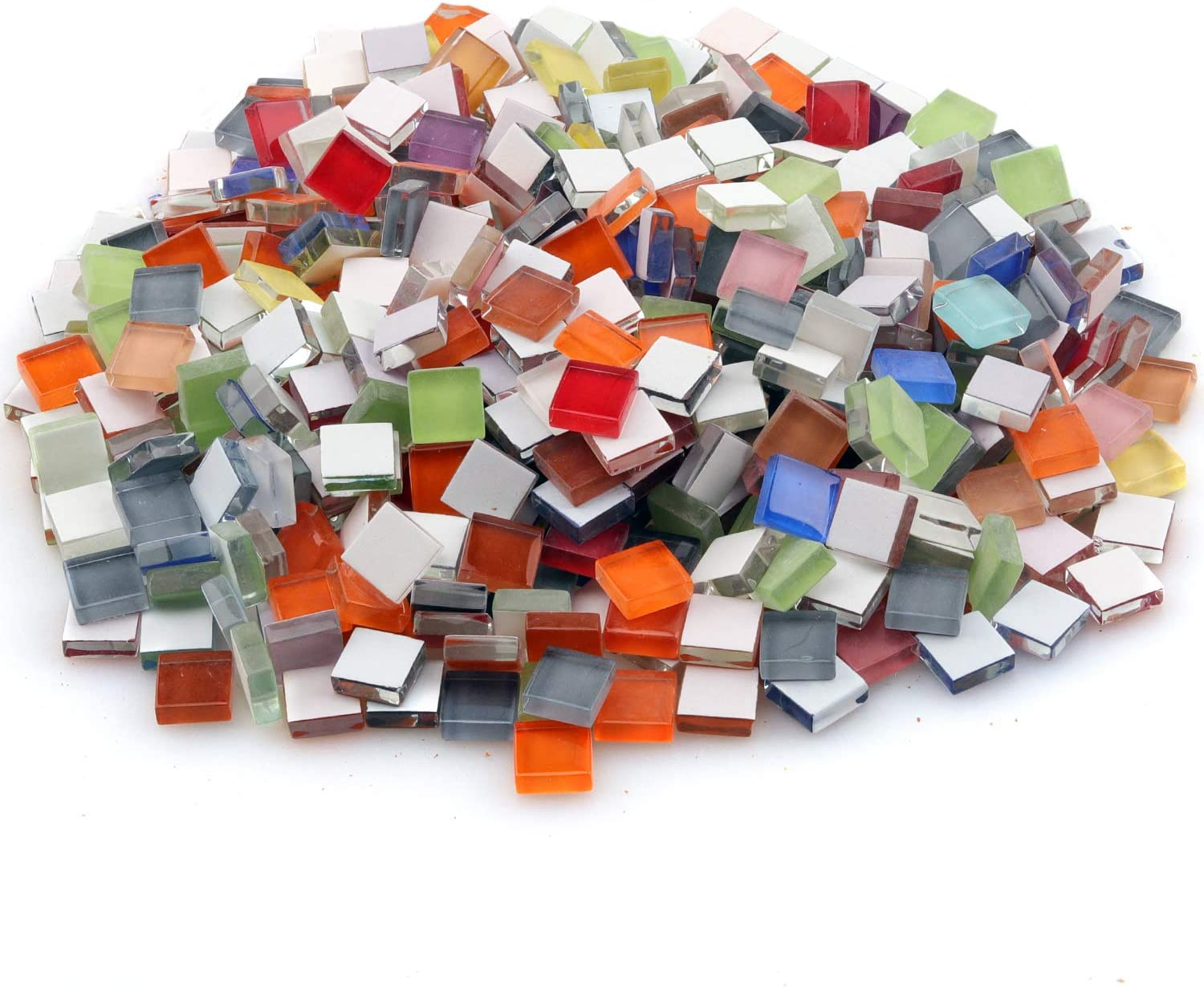 Glass Mosaic Tiles,1000 Pieces Mixed Color Mosaic Glass Pieces for Art Crafts Mosaic Projects DIY Children Puzzle Handmade Materials Home Decor (Crystal Diamond)