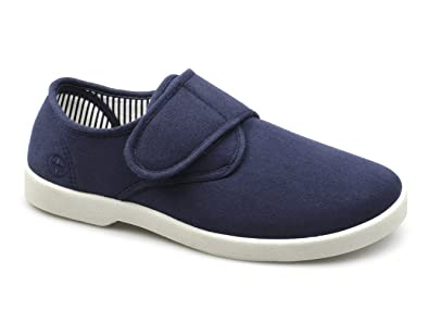 best value well known how to orders Dr Keller ROB Mens Canvas Wide Velcro Deck Shoes Navy ...