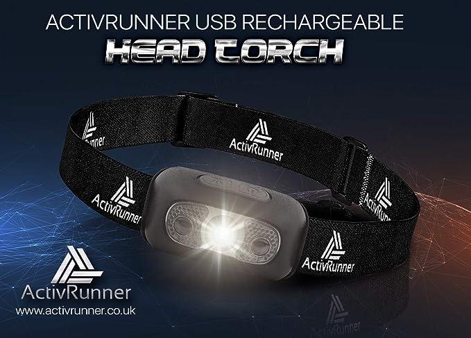 Headlight IP54 /& Head Torch ActivRunner USB Rechargeable Running Headlamp