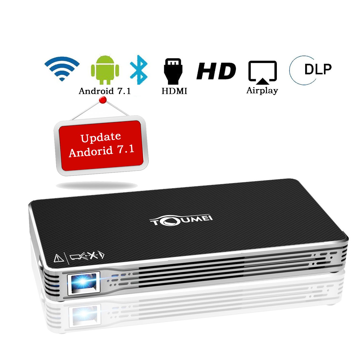 Projectors,TOUMEI Mini Portable Android 7.1 Video Projector Max Throw 120'' Display,Smart Mobile Projector Support Bluetooth,Wifi,HDMI,USB,TF Card and Audio for iPhone,iPad and Laptop