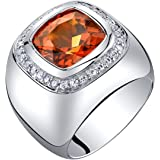 Mens 7.50 Carats Created Padparadscha Sapphire Ring Sterling Silver Sizes 8 to 13