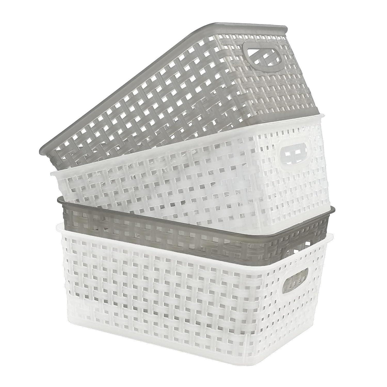 Doryh Small Plastic Storage Basket, 4-Pack Doryhier