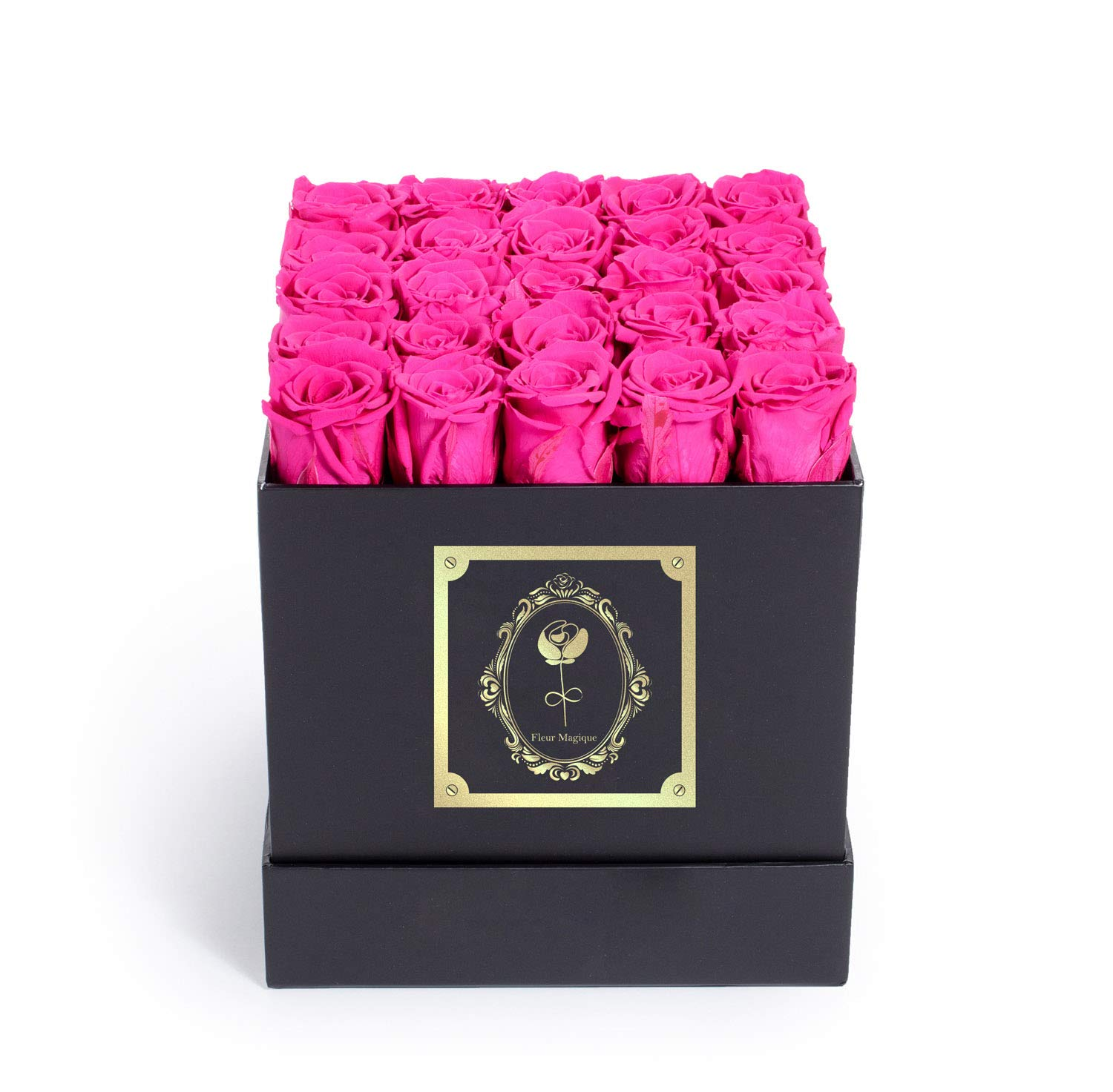 Fleur Magique | Preserved Roses for Delivery - Large Square Classic Black Box - Hot Pink Roses