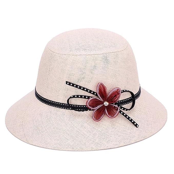 c21ac5611 Zerci Vintage Womens Straw Cloche Hat Bower Wide Brim Party Hat ...