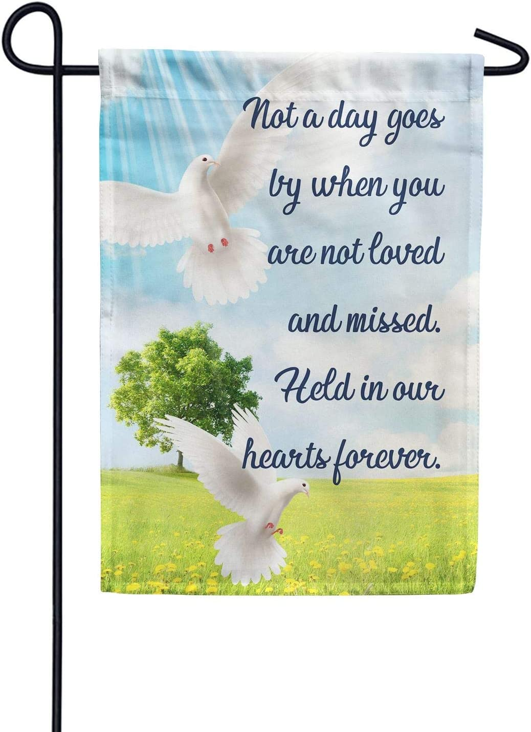 American Forever Garden Flag - Loved and Missed, Cemetery Memorial Religious Bereavement Double Sided 12.5