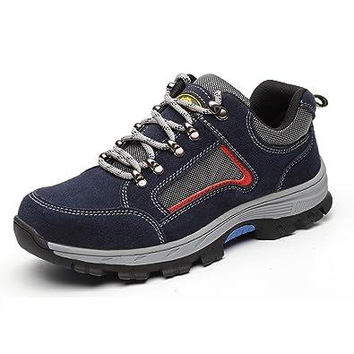 LILY999 Herren Wanderschuhe Trekking Schuhe Rutschfeste Atmungsaktive Traillaufschuhe Leichte Bequeme Laufschuhe(Rot,Größe 40)