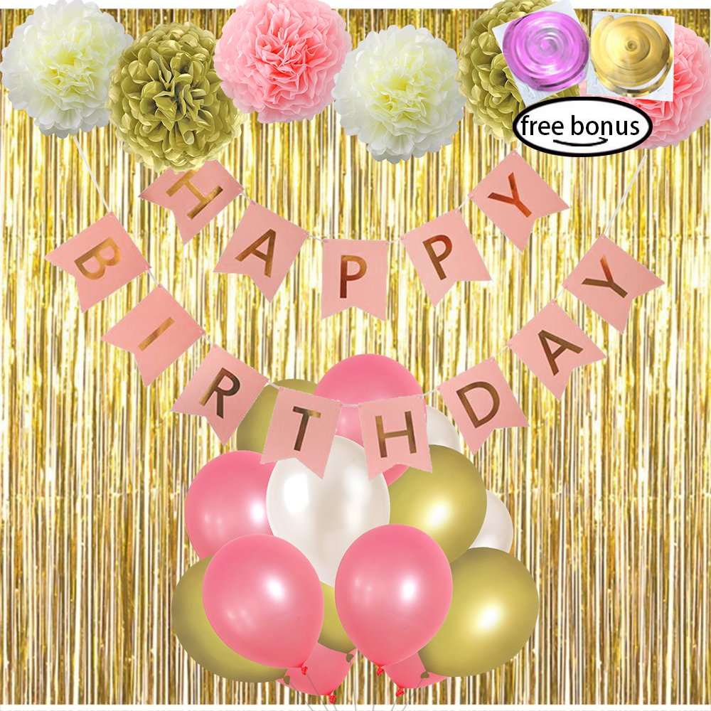 Amazon.com: LITAUS Pink and Gold Birthday Decorations, Pom Poms ...