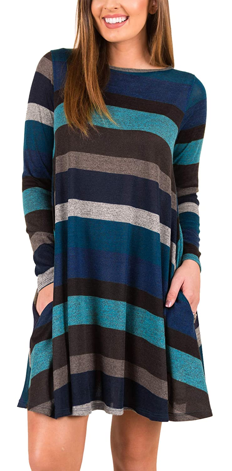 iGENJUN Women's Long Sleeve Casual Loose Striped Tunic with Pockets JT021