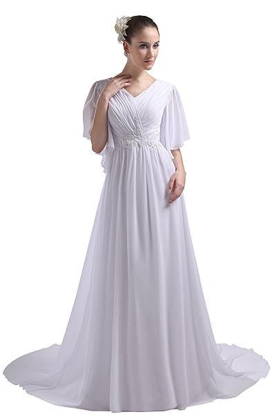 herafa p31609 – 8 para vestido de noche elegante cuello en V manga corta acanalados anillos