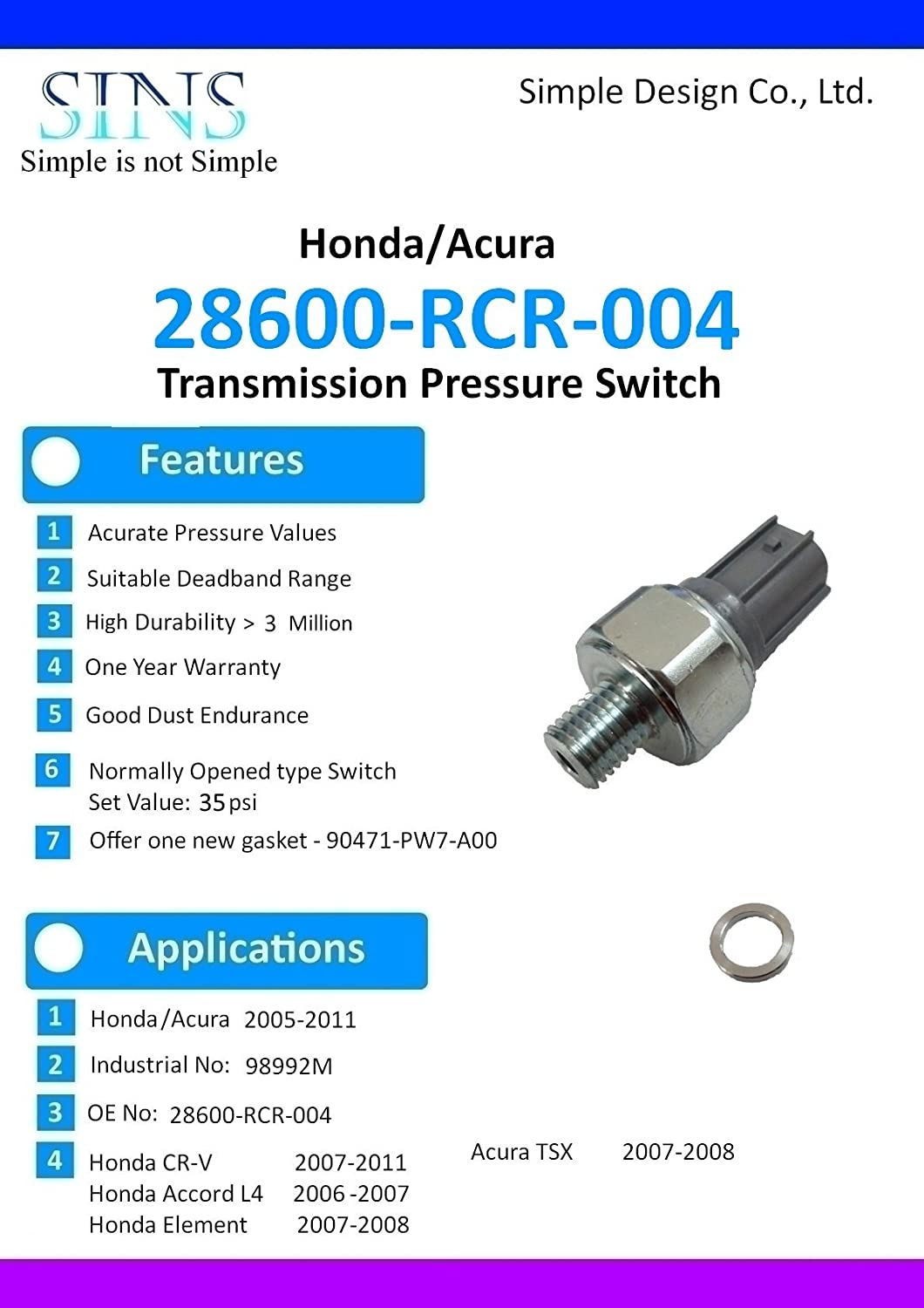 Accord CR-V TSX Transmission Pressure Switch 28600-RCR-004 SINS