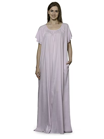 17e57df0c1 Patrorna Women s Pleated Shift Nighty Night Dress Gown in Baby Pink(Size S