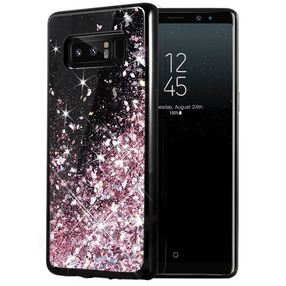 Galaxy Note 8 Case, Caka Galaxy Note 8 Glitter Case [Starry Night Series] Luxury Fashion Bling Flowing Liquid Floating Sparkle Glitter Girly TPU Bumper Case for Samsung Galaxy Note 8 - (Rose Gold) Note8-B-Liquid-RoseGold
