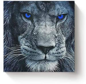 YEHO Art Gallery Square Canvas Wall Art Oil Painting Office Home Decor,3D Lion Head with Blue Eyes Animal Pattern Artworks for Christmas,Stretched by Wooden Frame,Ready to Hang,16 x 16 Inch
