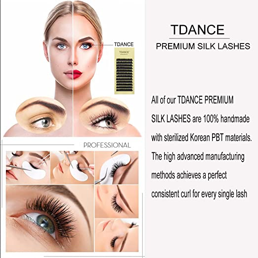 89129947f3e Amazon.com : TDANCE Premium DD Curl 8-18mm Semi Permanent Individual  Eyelash Extensions 0.05-0.25mm Thickness False Mink Silk Volume Lashes  Extensions ...