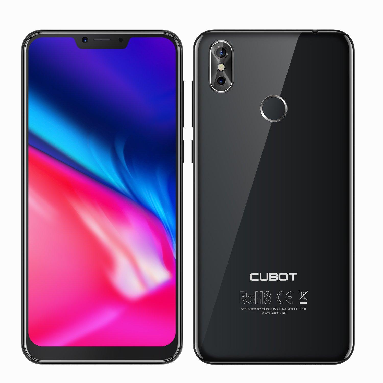 CUBOT P20-6.18 Pulgadas 19:9 - Android 8.0 4G Smartphone Octa Core - 4GB RAM 64GB ROM - Batería 4000mAh - Cámaras 20MP+2MP+13MP - Reconocimiento de Huella Digitales - Dual SIM Moviles Libres (Negro)