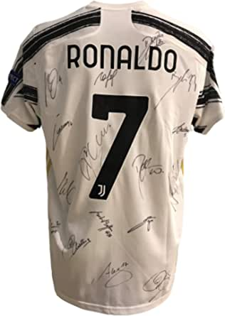 "MAESTRI DEL CALCIO Camiseta de Gara Home Europa para niño ""Ronaldo 7"" con autógrafo, firmada F.C. Juventu Juv 2020/2021"