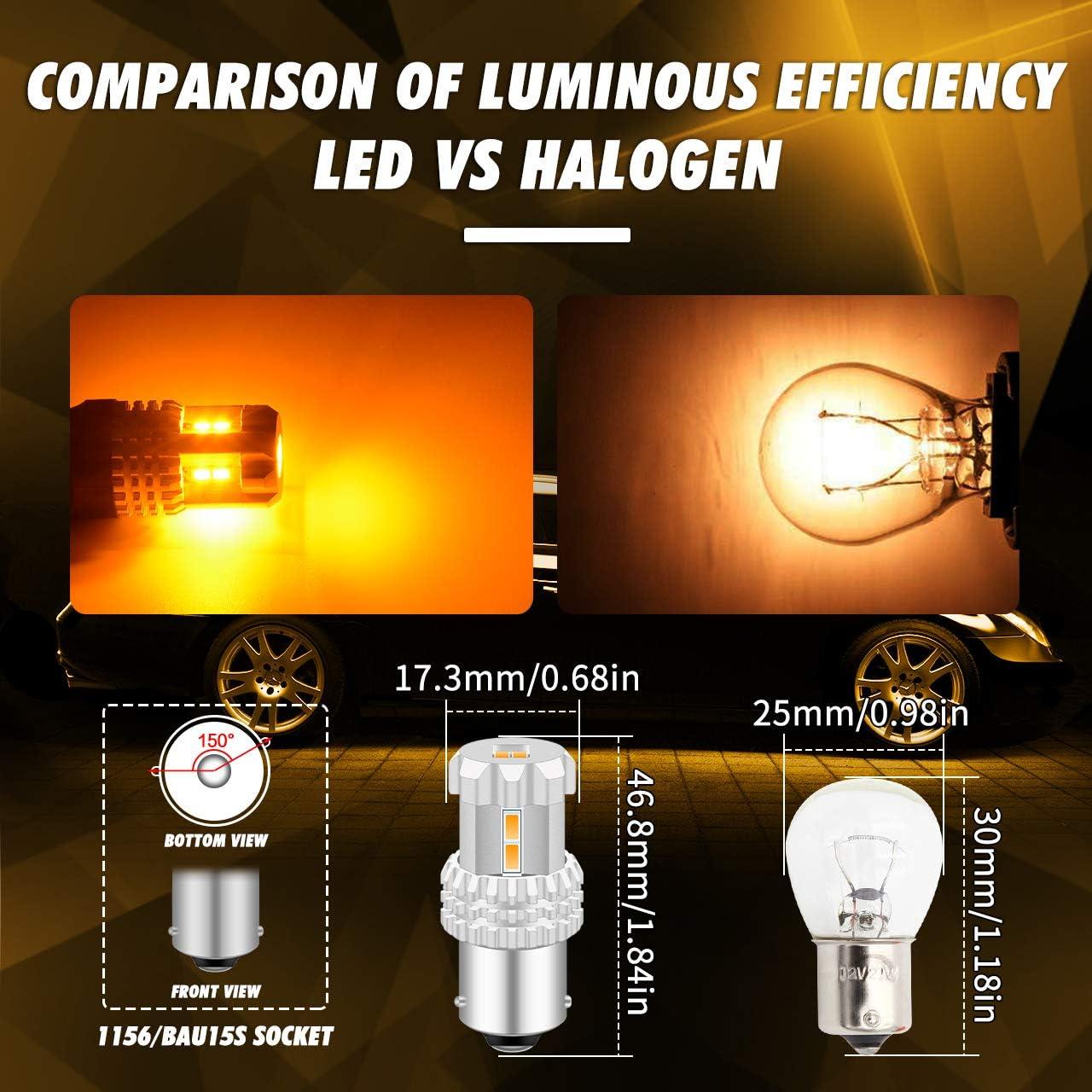 TUINCYN BAU15S Lampadina a LED ambra 7507 PY21W 12496 5009 7507AST Luce a LED 24W 12SMD 3020 Chips 1080 Lumen LED Indicatori di direzione Lampadine dei freni confezione da 2