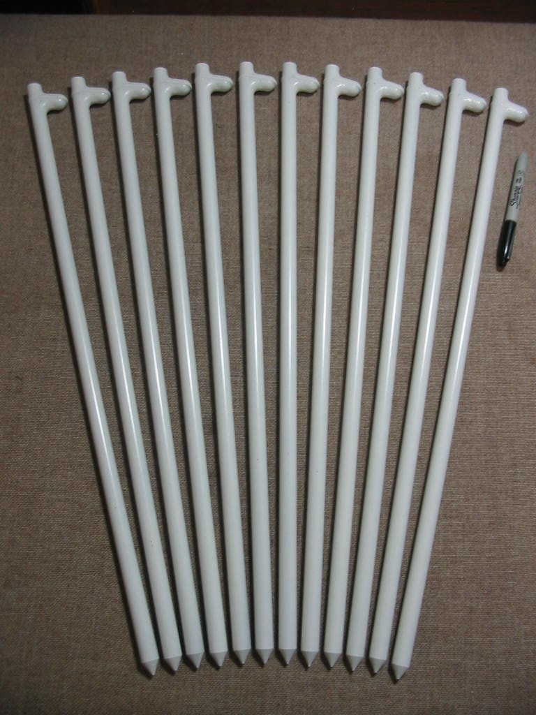 A 12 Pack of White Wedding Tent or Party Tent Stakes (24'' Long) by Monk Industries