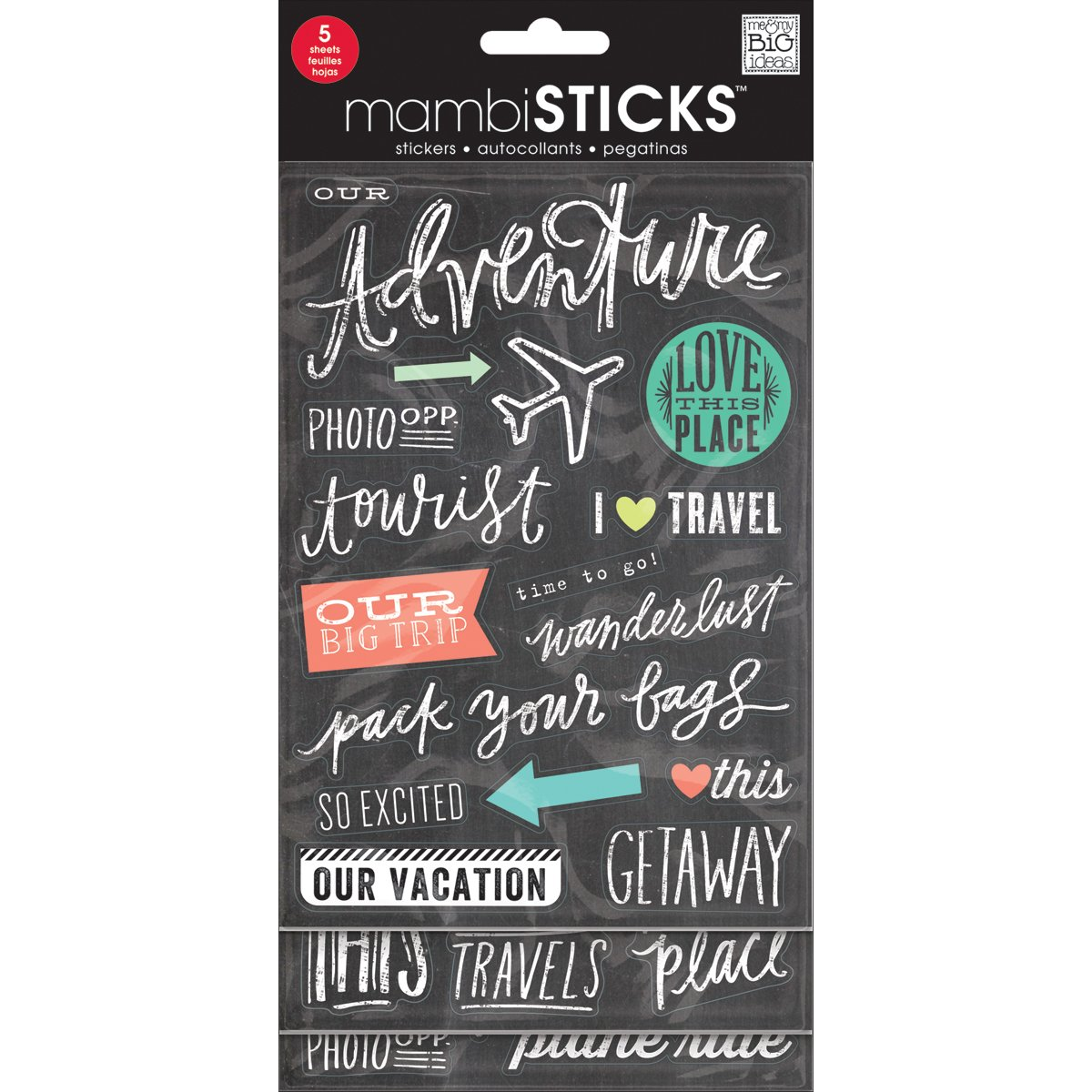 Chalk Me /& My Big Ideas GVP-57 Stickers Value Pack Tourist