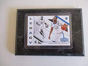 "DRAYMOND GREEN MICHIGAN STATE/GOLDEN STATE WARRIORS PANINI CONTENDERS NBA 2018""LEGACY"" DRAFT PICKS (WHITE JERSEY) PLAYER CARD MOUNTED ON A 4"" X 6"" BLACK MARBLE PLAQUE"