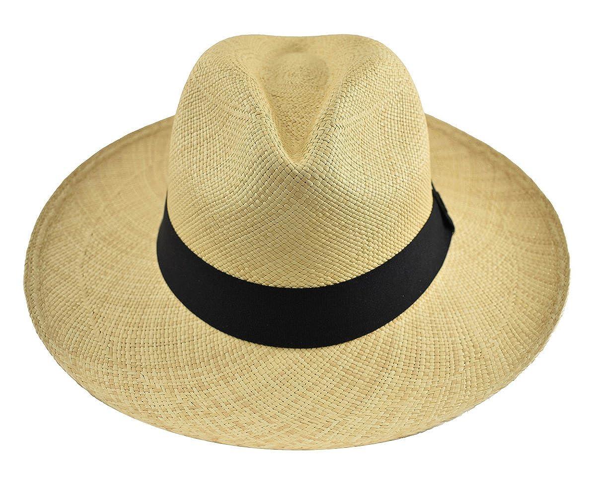 06043bee9fd Original Panama Hat - Wide Brim Classic Fedora - Toquilla Straw - Handmade  in Ecuador (Medium