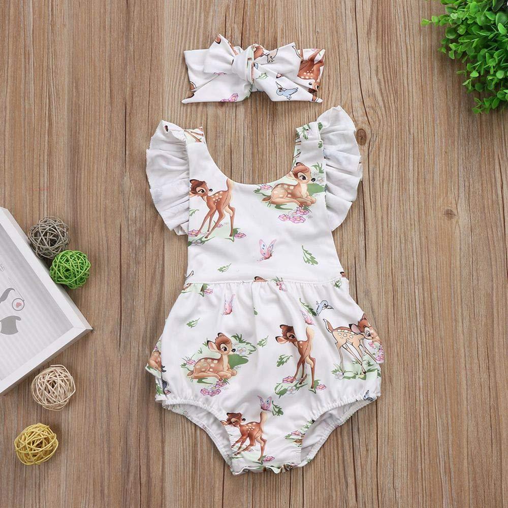 Oklady Newborn Baby Girls Clothes Print Short Sleeve Bodysuit Romper Jumpsuit