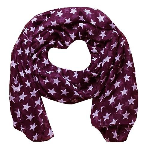 Mujer Bufandas con Estampado de Estrellas (Borgoña)