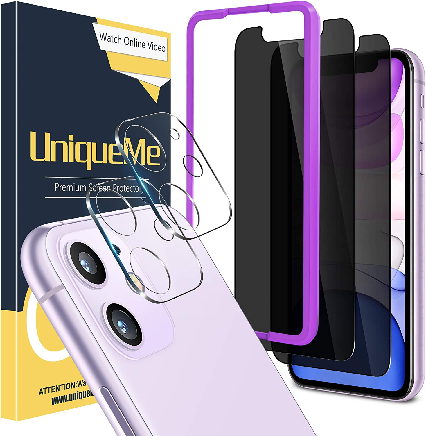 """[4 Pack] UniqueMe 2 Pack Privacy Screen Protector for iPhone 11 6.1"""" and 2 Pack Camera Lens Protector for iPhone 11 Tempered Glass Anti Spy HD Clear [Anti-Scratch] [Bubble Free]"""