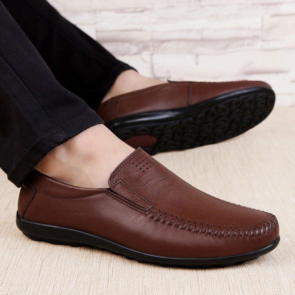 Männer Mode Lässig Erbsen Schuhe Weichen Boden Lässig Mode Lederschuhe Business-Schuhe DarkBraun 457026