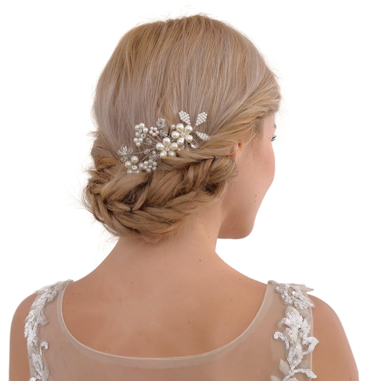 Braut Kopfbedeckungen Hochzeit Zubehör VertrauenswüRdig Topqueen Hp44 Hochzeit Braut Haar Kämme Haar Pins Haar Schmuck Kristall Perlen Perlen Braut Kopfschmuck Haar Zubehör Für Frauen