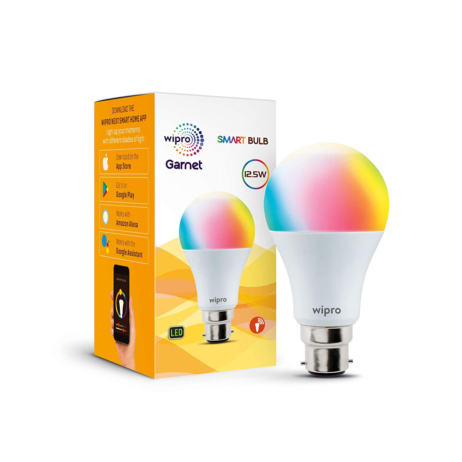 wipro WiFi Enabled Smart LED Bulb B22 12.5-Watt (16 Million Colors + Warm White/Neutral White/White) (Compatible with Amazon Alexa and Google Assistan