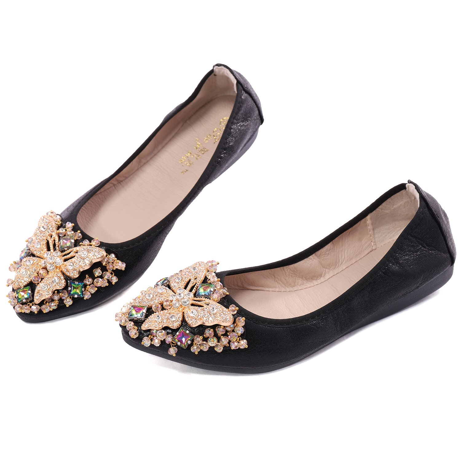Cattle Shop Womens Foldable Soft Ballet Flats Bling Rhinestone Comfort Slip On Loafers Walking Shoes by Cattle Shop (Image #2)