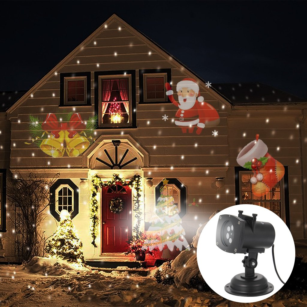 OxyLED PL101 Colorized Auto Moving Projector Lamp With 12 Replaceable Lens, Different Theme of Halloween/Christmas/Birthday/Snow/Star/Maple Leaf/Heart/Peace Dove/Butterfly/Four Leaf Clover
