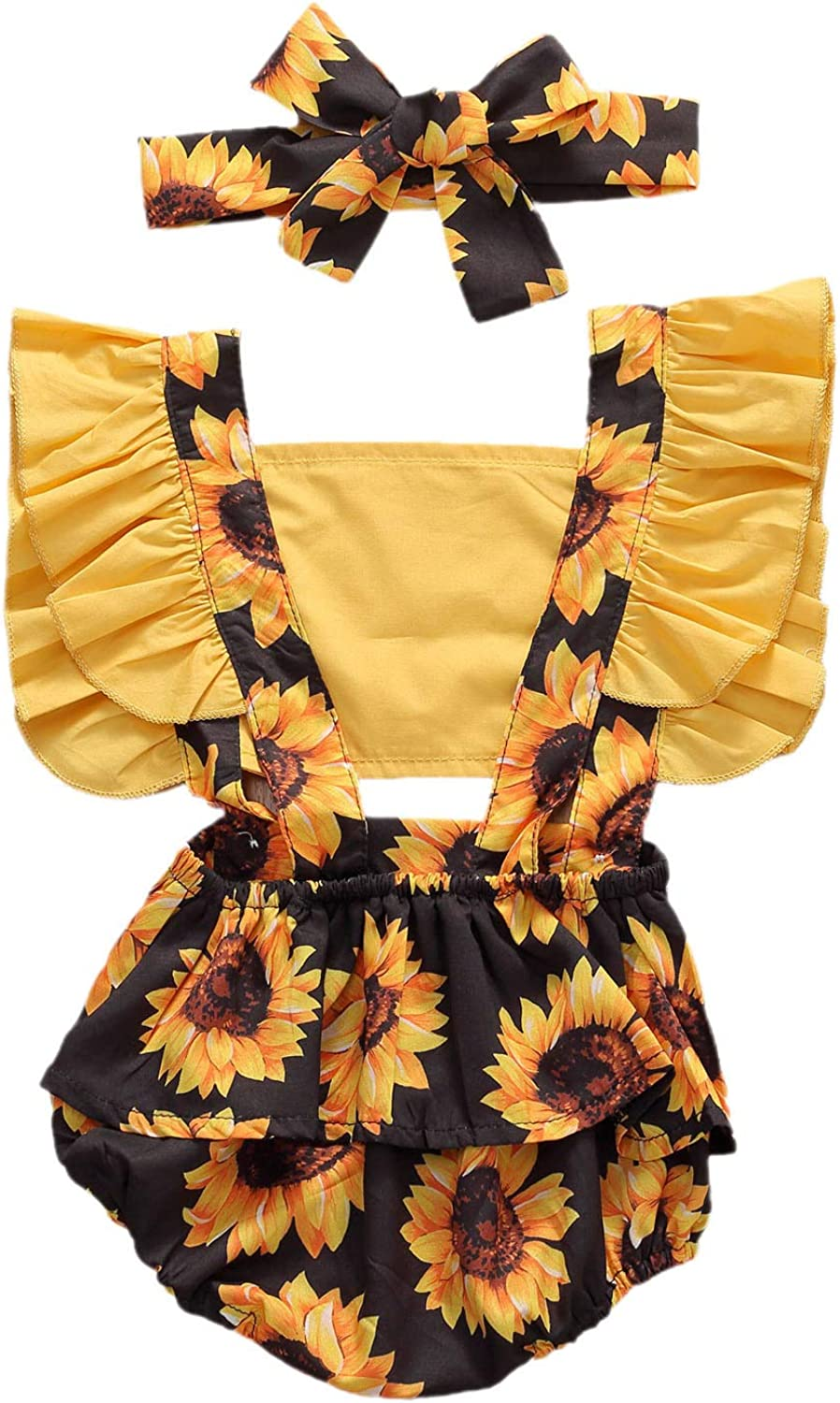 LVBU Girl One Piece Romper Toddler Ruffle Sleeveless Outfits Bodysuit Jumpsuit with Headband Clothes Set