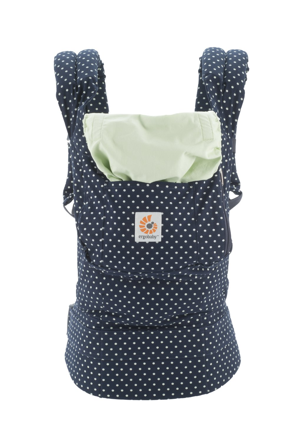 Ergobaby Original Award Winning Ergonomic Multi-Position Baby Carrier with X-Large Storage Pocket, Indigo Mint Dots