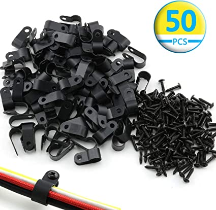 "100 Pack 1//4/"" Plastic Loop Clamps CABLE BLACK NYLON UV RESISTANT WIRE ELECTRICAL"