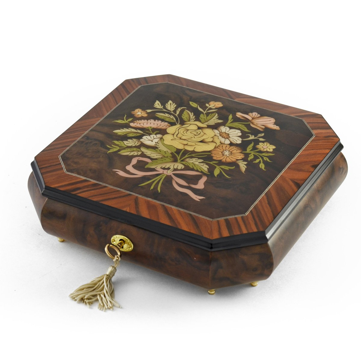 Charming Handcrafted Octagonal Italian Music Box with Floral Bouquet Inlay - Through the Eyes of Love - NEW