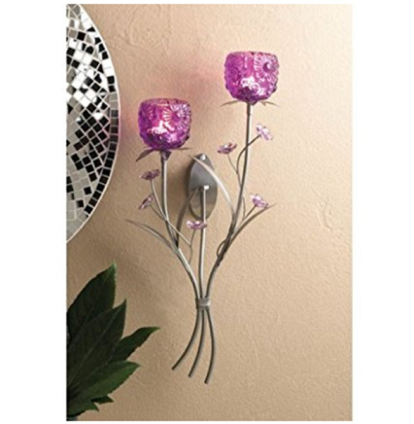 USA Premium Store Flower Fuchsia Purple Blooms Wall Sconce Candle Holder