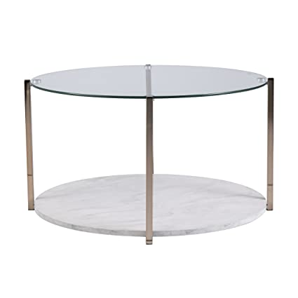Furniture HotSpot   Faux Marble Coffee Table W/Storage   Round   Warm Gold W