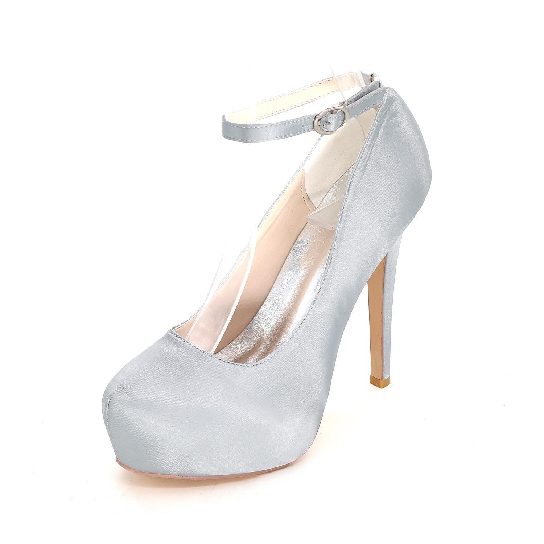 L@YC Sandalias De Mujer / Tacones altos / Verano / OtoñO De Boda De SatéN / Partido Y La Noche CóDigo De Varios Colores 41 Silver