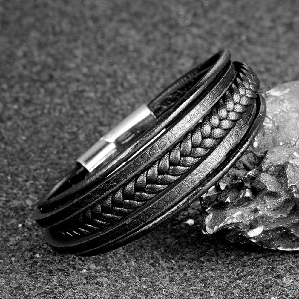 GuDeKe Homme Cuir V/éritable Bracelet et Acier Inoxydable Bracelet Multi Tiss/é R/églable Noir Cuir Bracelet pour Les Hommes