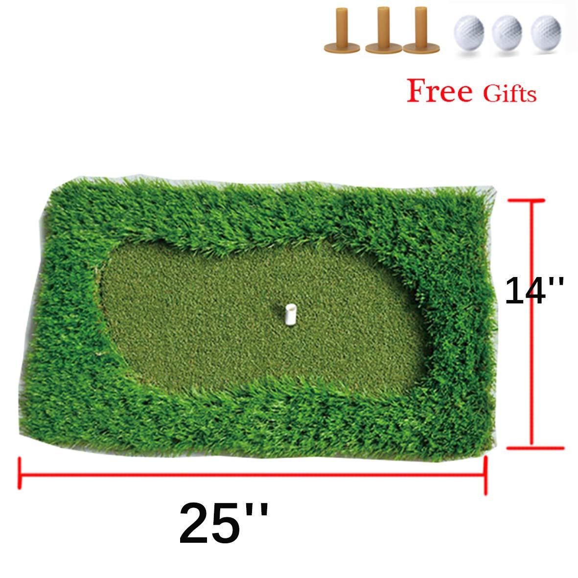 FunGreen Miniグリーンゴルフマット65 x 38 cmトレーニングHittingパッドゴム製ティーホルダーゴルフPutting PracticeマットIndoorOutdoor裏庭   B07C2TLGHM