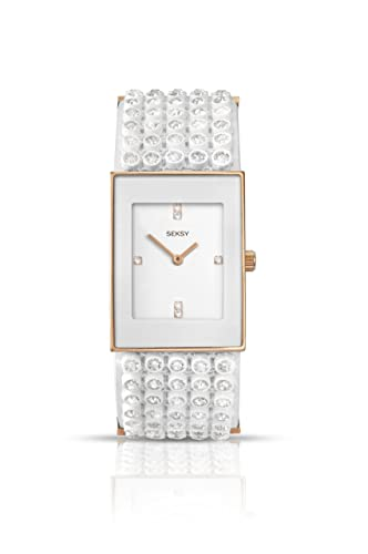 ab50658fa312 Seksy Women s Quartz Watch with White Dial Analogue Display and White  Plastic Strap 4855.37  Amazon.co.uk  Watches
