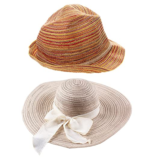 815e132236895 Image Unavailable. Image not available for. Color  Jili Online 2 Pieces  Womens Straw Hat Wide Brim Bow Summer Beach Sun Ladies Floppy Cap