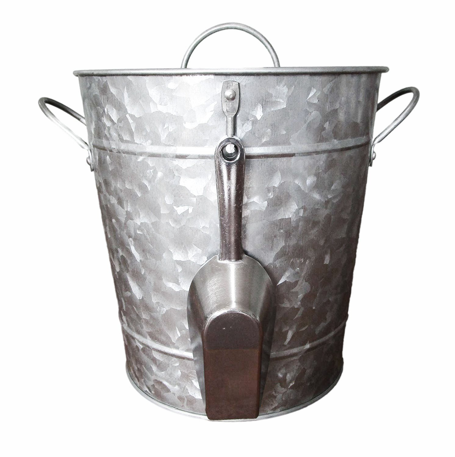 Galvanized Metal Ice Bucket and Scoop - Steel Construction - Plastic Insert - Lid Included - Bonus Chalkboard Labels and Marker