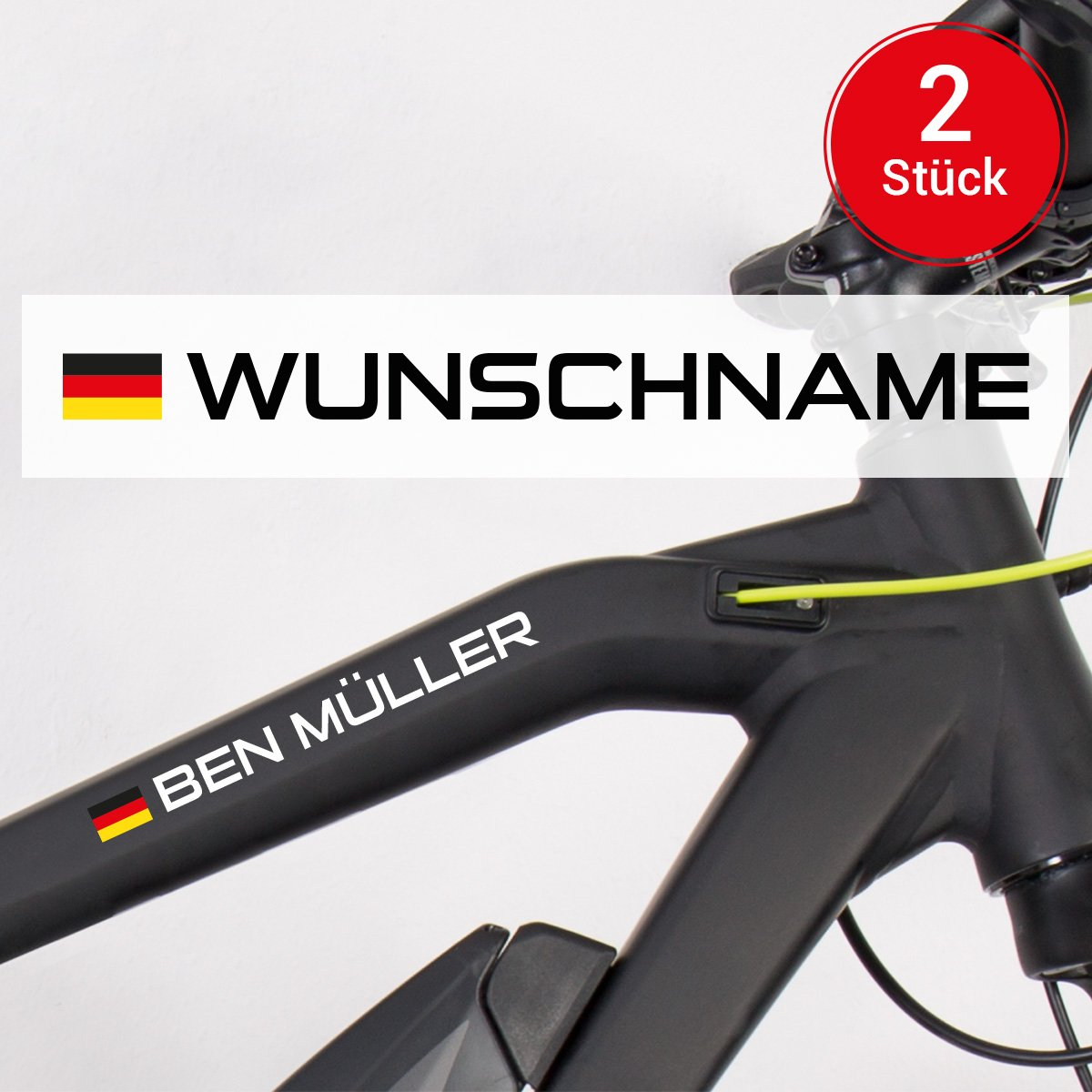 Motoking Fahrradaufkleber Name & Flagge - 2 Stück - Ihr Wunschname ...